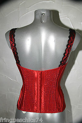 luxueux bustier soie dentelle rouge noir JANET REGER LONDON T 36 valeur 440€ 3