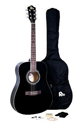 Rio Beginner Adult Student Full Size Acoustic Guitar Pack Starter Package Outfit 3