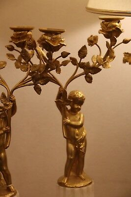 Pair of French Putti Ormolu Patinated Bronze White Marble Candlesticks Gilt gold 2