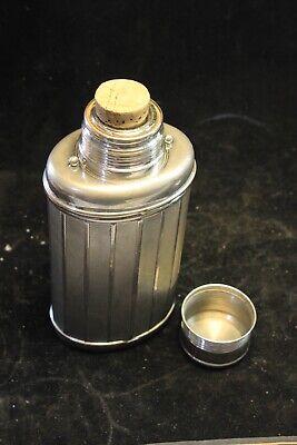 Alte Warmhalte Flasche Edelstahl 30-50erJ 22x10cm Sammlerstück Deckel Glaseinsat 5