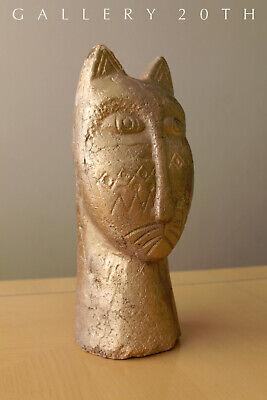 Magnificent Egyptian Bastet Polychromed Clay Sculpture! Cat God Feline Vtg 4