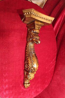 """21"""" Large Wooden wall shelf/Corbel/bracket Dragon.  Carved from alder wood. 2"""