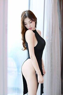 Abito Costume Completino Cheongsam Completo Spacco Laterale Velato Lingerie Sexy 7