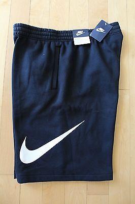 NWT NIKE Men's LOGO SWOOSH Fleece Shorts BLACK WHITE M L XL