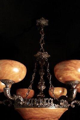 Light fixture chandelier 9 lights solid bronze real alabaster made in America 9