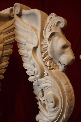 Wooden stairs Baluster Newel, oak carved  gryphon statue, decorative element. 5