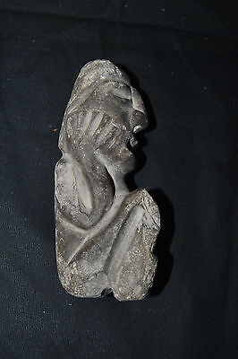 Antique Pre-Columbian Stone Figure Seated Man w/ Hands on Face 6