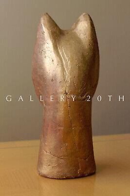 Magnificent Egyptian Bastet Polychromed Clay Sculpture! Cat God Feline Vtg 3