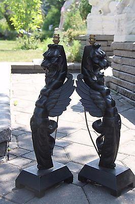 19C French Fantasy Gothic Carved Oak Lamps Griffin/Gargoyle/Dragon 5