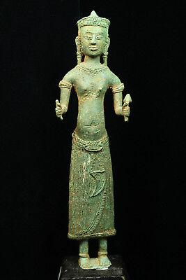 Rare Ancient Khmer Bronze Statue of Prajnaparamita 12th c Bayon Style Angkor Per 2