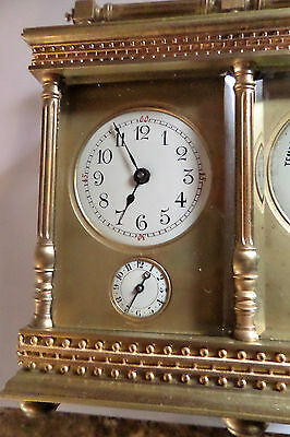 Antique French Double Carriage Clock Barometer / Alarm  / Compass Set 4