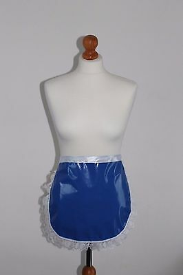 Red frilly lace pvc pinny apron fancy dress sissy maid