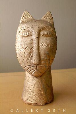 Magnificent Egyptian Bastet Polychromed Clay Sculpture! Cat God Feline Vtg 8