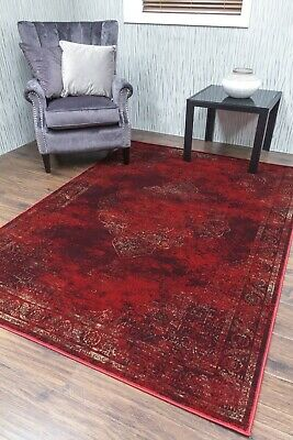 Burgundy Rug Classic Vintage Design Traditional Faded Distressed Ruby Red 2