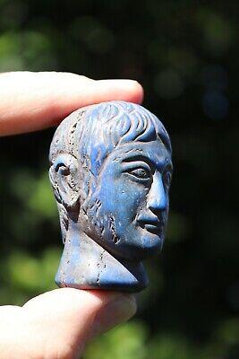 Head of the Roman Emperor, carved lapis lazuli stone, 100 BC-100 AD 2