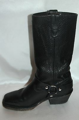 DOUBLE H Boot Company Black Leather Harness Square Toe Western Cowboy Boots 6.5 6
