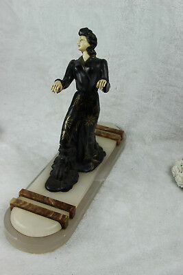 XL ART DECO 1930 french elegance lady statue marble onyx base spelter ivorine 7