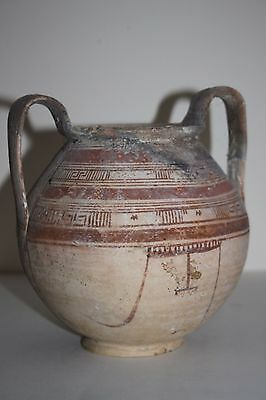 QUALITY LARGE ANCIENT GREEK DAUNIAN POTTERY KANTHAROS 6/5th CENTURY BC