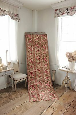 Fabric Antique Floral French printed cotton circa 1860 twill weave muted tones 4