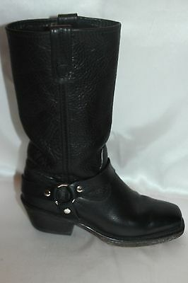 DOUBLE H Boot Company Black Leather Harness Square Toe Western Cowboy Boots 6.5 2