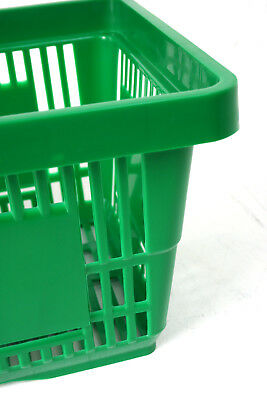 Pack of 20 x 2 Handle Green Plastic Shopping Basket Retail Supermarket Use 2