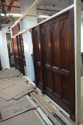 19C English Gothic Carved Tiger Oak Church Organ Wall Door&Original Hardware 2