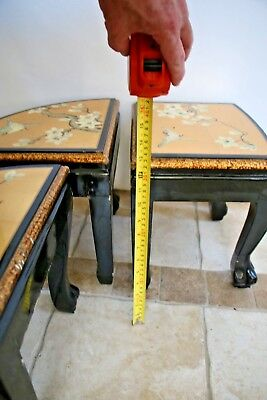 Vintage Asian Black Gold Leaf Mother of Pearl Oval Coffee Table & Five stands 11