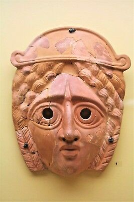 ANCIENT GREEK TERRACOTTA THEATER MASK OFFICIAL REPLICA WITH CERTIFICATE 3rd C.AD