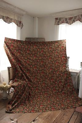 Antique French curtain c1880 heavy w/ fringe trim printed cotton LARGE drape 12