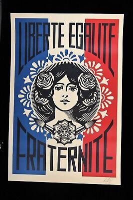 SHEPARD FAIREY Liberté Egalité Fraternité LITHO OFFSET SIGNEE OBEY GIANT MINT 8