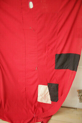 Antique Fabric Red & Black Polka dot French patched textile day bed canopy 12