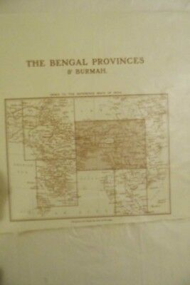 Map Bengal Provinces & Burmah Geographic c1910 Antique MAP