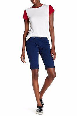 60e56e29e14a1a ... HUE Blue Ink Wash Super Smooth Stretch Denim Boyfriend Shorts- msrp $34  3