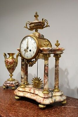 A Beautiful French Marble And Ormolu Mantle Clock Set 6
