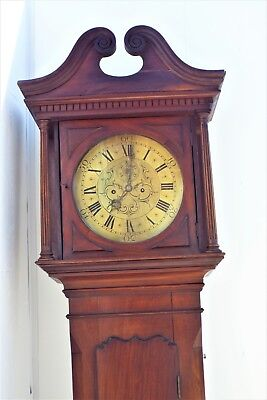 Grandfather Clock brass dial 8 day movement mahogany case. 4