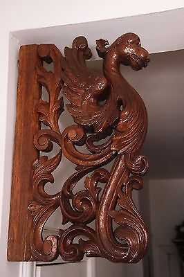 19C French Winged Griffin Gargoyle Pair Corbels 3