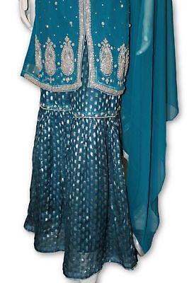 E13 Pakistani Indian 3 Pc Party Wear Chiffon Dress