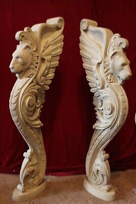 Wooden stairs Oak Decor, unique carved gryphon statue, decorative element. 3