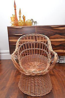 Stunning Mid Century Vintage Childrens Basket Weave Rattan Chair 5