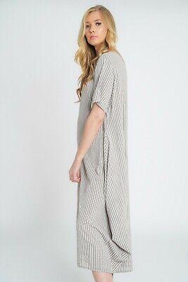 New Ladies Lagenlook Italian Quirky Striped Linen 2 Pocket Scoop Neck Long Dress 7