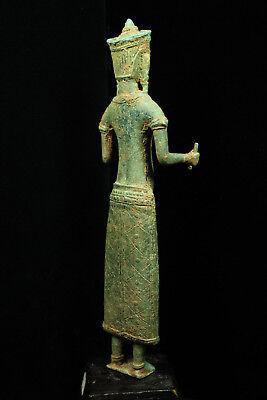 Rare Ancient Khmer Bronze Statue of Prajnaparamita 12th c Bayon Style Angkor Per 7