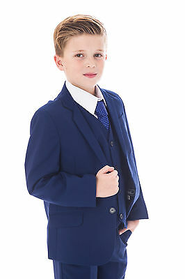 Boys Blue Suits Royal Blue Suit Navy Formal Wedding PageBoy Party Prom 5pc Suit 3