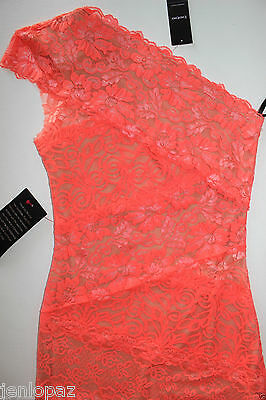 NWT Bebe coral pink lace dress one shoulder ivory overlay mixed vegas top XXS 0 4