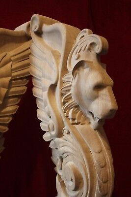 Wooden stairs Baluster Newel, oak carved  gryphon statue, decorative element. 4