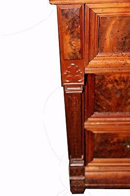 Antique American Victorian Eastlake Walnut & Rose Marble-Top Dresser 3