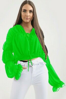 Ladies Frill Ruffle Balloon Long Sleeve Tie Front Shirt Ruched Sheer Blouse Top