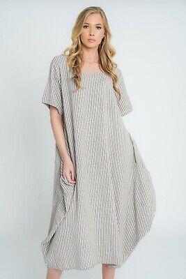 New Ladies Lagenlook Italian Quirky Striped Linen 2 Pocket Scoop Neck Long Dress 5