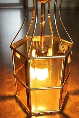 Swedish Rare ceiling vintage brass  faceted smoke glass VINTAGE  LAMP Mark Slöjd 11