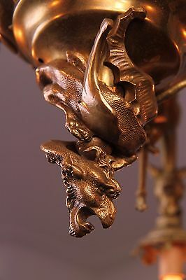 Vintage French Gothic Fantasy Winged Dragon/Griffin Bronze Castle Chandelier 8