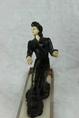XL ART DECO 1930 french elegance lady statue marble onyx base spelter ivorine 6